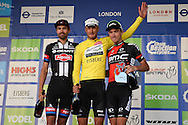 Winner Steve Cummings of Great Britain and Team Dimension Data with Rohan Dennis of Australia and BMC Racing Team in 2nd place and Tom Dumoulin of the Netherlands and Team Giant Alpecin in 3rd pace in the Tour of Britain 2016 stage 8 , London, United Kingdom on 11 September 2016. Photo by Martin Cole.