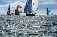 Barney Sanderman's yawl Laughing Gull (136) competing in Cowes during the Panerai British Classic Sailing Week regatta. <br /> Picture date: Monday July 10, 2017.<br /> Photograph by Christopher Ison ©<br /> 07544044177<br /> chris@christopherison.com<br /> www.christopherison.com