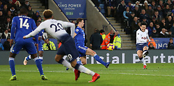 Tottenham Hotspur's Son Heung-min (right) scores his side's first goal of the game during the Premier League match at the King Power Stadium, Leicester.