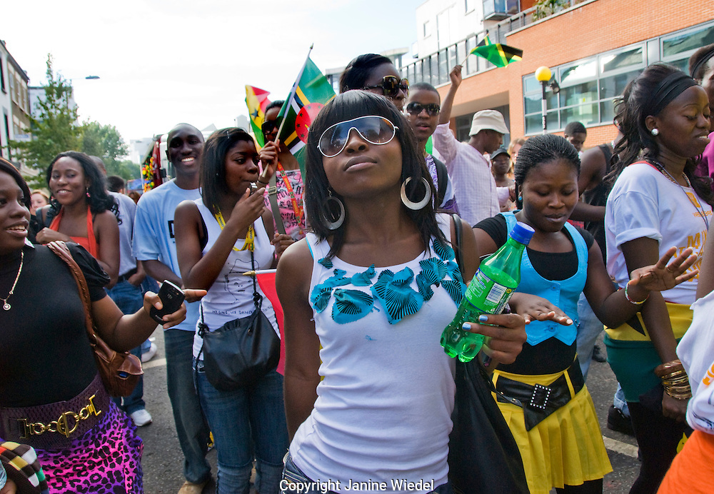 People heading towards Notting Hill Carnival