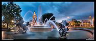 Panoramic photograph of JC Nichols Memorial Fountain, on The Plaza, Kansas City, Missouri. Print sizes (in inches): 15x6.5, 32x14, 40x17, 48x21, 60x26