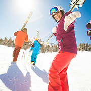 The Adams family (1st family) and the Rahmani family having a family ski day at Kirkwood Mountain Resort.