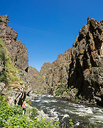 Imnaha River Trail, Hells Canyon National Recreation Area, Wallowa-Whitman National Forest, north of Imnaha village, Oregon, USA. The entire river is designated Wild and Scenic. This image was stitched from 3 overlapping photos.