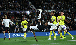Derby County's Fikayo Tomori performs bicycle kick towards goal during the game