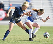 George Washington midfielder Isabelle Eskay (left) and St. Louis University midfielder Anna Walsh fight for the ball. St. Louis University defeated George Washington in the championship game of the Atlantic 10 Conference Women's Soccer Tournament at Robert Hermann Stadium at St. Louis University on Sunday November 10, 2019.<br /> Photon by Tim Vizer