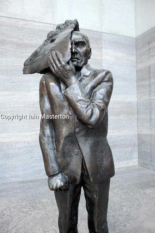 Sculpture called Showing Face by Wolfgang Mattheuer on display at Museum Der Bildenden Kuenste, Leipzig Germany