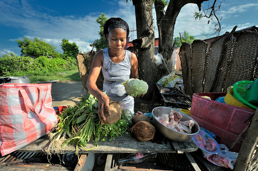A woman cooks in front of her home in the Haitian village of Vaudreuil. She used a small loan to buy what she needed to start the business, in which she sells cooked food to her neighbors who have money to spend.