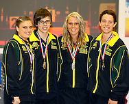 Loughborough, England - Saturday 31 July 2010: Single Rope Overall winners Australia comprising Luke Boon, Jake Eve, Kirstin Morris and Bonnie Somers, collect their gold medals after the World Rope Skipping Championships held at Loughborough University, England. The championships run over 7 days and comprise junior categories for 12-14 year olds in the World Youth Tournament, 15-17 year olds male and female championships, and any age open championships. In the team competitions, 6 events are judged, the Single Rope Speed, Double Dutch Speed Relay, Single Rope Pair Freestyle, Single Rope Team Freestyle, Double Dutch Single Freestyle and Double Dutch Pair Freestyle. The mens overall winners were Belgium, and the open mixed overall single rope winners were Australia. For more information check www.rs2010.org. Picture by Andrew Tobin/Picture It Now.