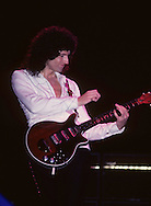 LOS ANGELES, CA - SEPTEMBER 15: Brian May of Queen in concert at The Forum on September 15, 1982 in Los Angeles, California.