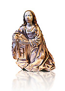 Painted alabaster statue of the Virgin of the annunciation, made around 1495 by Tilman Riemenschneider of Heiligenstadt im Eichsfeld, Germany The statue would have originally bee accompanied by another of the  Gabriel and both would have formed part of an altarpiece. Inv RF 1384,  The Louvre Museum, Paris. .<br /> <br /> If you prefer you can also buy from our ALAMY PHOTO LIBRARY  Collection visit : https://www.alamy.com/portfolio/paul-williams-funkystock . Type -    Louvre Madonna     - into the LOWER SEARCH WITHIN GALLERY box. Refine search by adding background colour, place, museum etc<br /> <br /> Visit our MEDIEVAL ART PHOTO COLLECTIONS for more   photos  to download or buy as prints https://funkystock.photoshelter.com/gallery-collection/Medieval-Middle-Ages-Art-Artefacts-Antiquities-Pictures-Images-of/C0000YpKXiAHnG2k .<br /> <br /> If you prefer you can also buy from our ALAMY PHOTO LIBRARY  Collection visit : https://www.alamy.com/portfolio/paul-williams-funkystock/gothic-art-antiquities.html  Type -   louvre     - into the LOWER SEARCH WITHIN GALLERY box. Refine search by adding background colour, place, museum etc<br /> <br /> Visit our MEDIEVAL ART PHOTO COLLECTIONS for more   photos  to download or buy as prints https://funkystock.photoshelter.com/gallery-collection/Medieval-Gothic-Art-Antiquities-Historic-Sites-Pictures-Images-of/C0000gZ8POl_DCqE