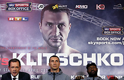 (From left to right) Sky Sports' Adam Smith, Wladimir Klitschko and trainer Johnathon Banks during a press conference at Sky Sports Studios, Isleworth.