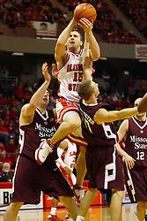 18 January 2009: Sead Odzic grabs an offensive foul as he heads to the hoop splitting defenders Ryan Jehle and Justin Fuehrmeyer.  The Illinois State University Redbirds top the Missouri State Bears 68-56 on Doug Collins Court inside Redbird Arena on the campus of Illinois State University in Normal Illinois