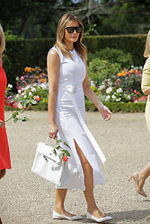 U.S. First Lady Melania Trump walk in the garden of the Villa Arnaga, House-museum of Edmond Rostand, during a visit on traditional Basque culture in Combo-les-Bains, near Biarritz as part of the G7 summit, August 25, 2019. Photo by Thibaud Moritz/ABACAPRESS.COM