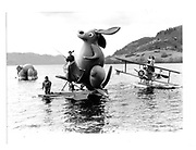 Loch Ness. A Surreal Fishing expedition. The Loch Ness Monster. Cosmo Hulton, David Kirke, Marella Oppenheim© Copyright Photograph by Dafydd Jones 66 Stockwell Park Rd. London SW9 0DA Tel 020 7733 0108 www.dafjones.com