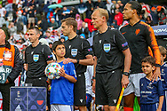 The match officials and mascot wait to enter the pitch during the UEFA Nations League semi-final match between Netherlands and England at Estadio D. Afonso Henriques, Guimaraes, Portugal on 6 June 2019.