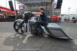 Deanna Rhoades of Pinup Baggers with the winning bike that took Best of ShowThe Masters II Show at the Easyriders Saloon presented by Misfit Industries during the 75th Annual Sturgis Black Hills Motorcycle Rally.  SD, USA.  August 7, 2015.  Photography ©2015 Michael Lichter.