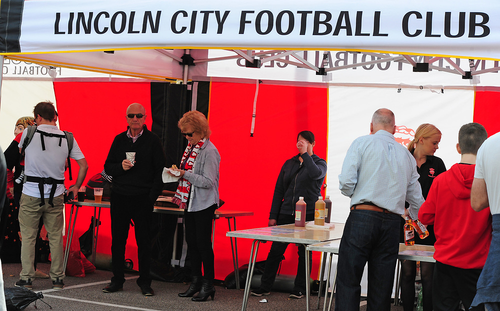 Lincoln City fans enjoy the pre-match atmosphere in the Fan Zone<br /> <br /> Photographer Andrew Vaughan/CameraSport<br /> <br /> The EFL Sky Bet League Two - Lincoln City v Cambridge United - Saturday 14th October 2017 - Sincil Bank - Lincoln<br /> <br /> World Copyright © 2017 CameraSport. All rights reserved. 43 Linden Ave. Countesthorpe. Leicester. England. LE8 5PG - Tel: +44 (0) 116 277 4147 - admin@camerasport.com - www.camerasport.com