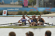 Eton Dorney, Windsor, Great Britain,<br /> <br /> 2012 London Olympic Regatta, Dorney Lake. Eton Rowing Centre, Berkshire.  Dorney Lake.   <br /> <br /> Final, Men's Pair GBR M2- Bow George NASH and Will SATCH and NZL M2-, Bow Eric MURRAY and Hamish BOND<br /> <br />  11:57:04  {DOW]  {DATE}    [Mandatory Credit: Peter Spurrier/Intersport Images]