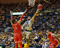 Feb 26, 2018; Morgantown, WV, USA; West Virginia Mountaineers forward Esa Ahmad (23) shoots in the lane during the second half against the Texas Tech Red Raiders at WVU Coliseum. Mandatory Credit: Ben Queen-USA TODAY Sports
