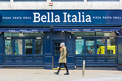 © Licensed to London News Pictures. 21/03/2020. Leeds UK. Bella Italia in Leeds city centre has been closed due to the Covid 19 outbreak. Photo credit: Andrew McCaren/LNP