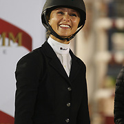 Georgina Bloomberg riding Juvina, winning the $210,000 Central Park Show Jumping Grand Prix held in the Wollman Ice Rink. The event was part of the four Day Central Park Horse Show. Central Park, Manhattan, New York, USA. 18th September 2014. Photo Tim Clayton