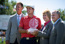 June 3, 2018 - Dublin, OH, U.S. - DUBLIN, OH - JUNE 03:  Bryson DeChambeau holds the Memorial Tournament Trophy with the Nicklaus Family after the final round of the Memorial Tournament at Muirfield Village Golf Club in Dublin, Ohio on June 03, 2018. (Photo by Shelley Lipton/Icon Sportswire) (Credit Image: © Shelley Lipton/Icon SMI via ZUMA Press)