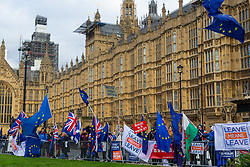 Both Leave and Remain campaigners demonstrate outside the Houses of Parliament. London, January 14 2019.