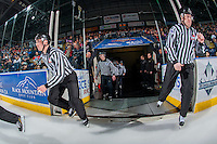 KELOWNA, CANADA - JANUARY 27: Linesmen Tim Plamondon and Cody Wanner enter the ice with members of BC referees on January 27, 2017 at Prospera Place in Kelowna, British Columbia, Canada.  (Photo by Marissa Baecker/Shoot the Breeze)  *** Local Caption ***