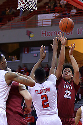 26 November 2016:  D.J.McCall shoots over DJ Clayton(2) during an NCAA  mens basketball game between the IUPUI Jaguars the Illinois State Redbirds in a non-conference game at Redbird Arena, Normal IL