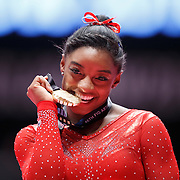 Simone Biles of the USA wins gold at the Women's All-Round Final at the 46th FIG Artistic Gymnastics World Championships in Glasgow, Britain, 29 October 2015.