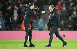 Southampton manager Ralph Hasenhuttl (right) celebrates after the final whistle during the Premier League match at St Mary's Stadium, Southampton.