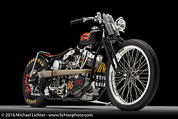 """Garage Special"", a drag style custom shovelhead built by Stacy B. McCleary of Stacy's Garage in Manteca, CA. Photographed by Michael Lichter during the Easyriders Bike Show in Sacramento, CA on January 8, 2016. ©2016 Michael Lichter."