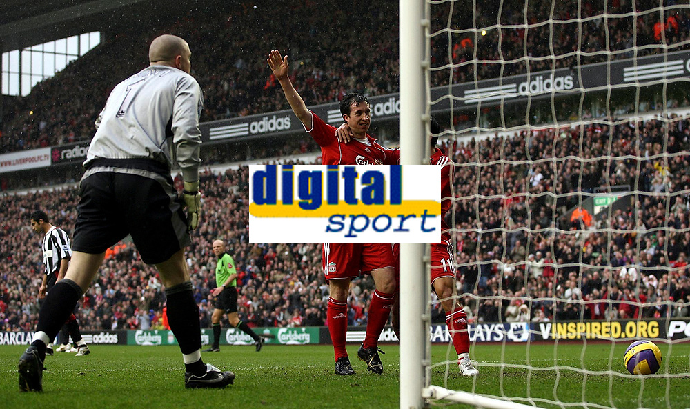 Photo: Paul Thomas.<br /> Liverpool v Sheffield United. The Barclays Premiership. 24/02/2007.<br /> <br /> Robbie Fowler of Liverpool celebrates his first penalty of the after noon with Mark Gonzalez.
