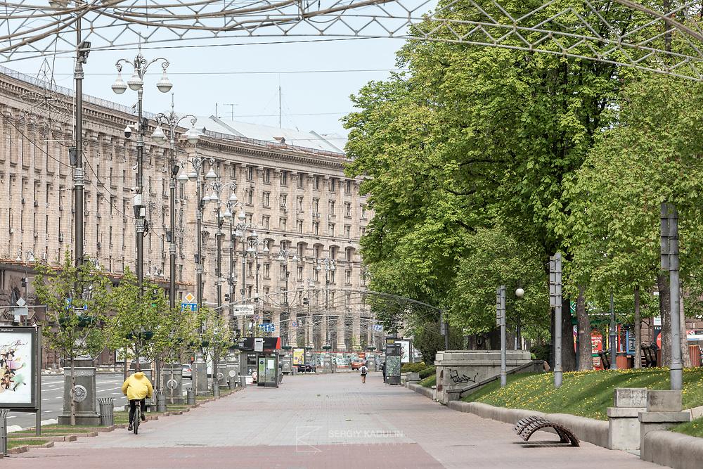 Empty Kreschatyk street during Covid-19 lockdown in Kyiv. April, 2020.