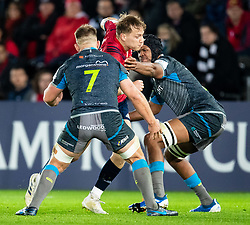 Mike Haley of Munster  under pressure from Olly Cracknell of Ospreys<br /> <br /> Photographer Simon King/Replay Images<br /> <br /> European Rugby Champions Cup Round 1 - Ospreys v Munster - Saturday 16th November 2019 - Liberty Stadium - Swansea<br /> <br /> World Copyright © Replay Images . All rights reserved. info@replayimages.co.uk - http://replayimages.co.uk