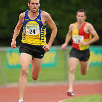 14 August 2010; Jason Fahy, Clare County, leads Sean Connolly, right, Tallaght AC, during the Men's Division One 1500m at the Woodie's DIY National League Final 2010. Tullamore Harriers Stadium, Tullamore, Co. Offaly. Picture credit: Barry Cregg / SPORTSFILE *** NO REPRODUCTION FEE ***