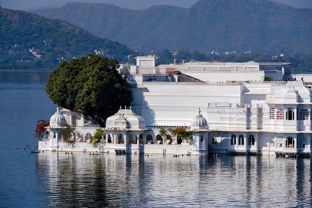 UDAIPUR, INDIA - CIRCA NOVEMBER 2016:  Lake Palace Hotel formerly known as Jag Niwas in Lake Pichola in Udaipur