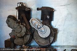 Billy Lane's (L) 1914 Harley-Davidson Model 10C, 30.50 c.i. and (R) 1913 Harley-Davidson Model 9A, 30.50 c.i. motors at his shop, Ormond Beach, FL. Monday, March 16, 2015.  Photography ©2015 Michael Lichter.