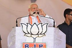 May 1, 2019 - Kaushambhi, Uttar Pradesh, India - Kaushambi: Indian Prime minister and BJP leader Narendra Modi during attend an election campaign public rally at Bharwari in Kaushambi district of Uttar Pradesh on May 01, 2019. (Credit Image: © Prabhat Kumar Verma/ZUMA Wire)