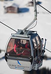 THEMENBILD - Skispass im osttiroler St. Jakob im Defereggen. Abseits des stressigen Massentourismus vieler anderer Skigebiete besticht die Brunnalm vor allem durch seine Überschaubarkeit. Die meisten Hänge sind auch mit Kindern sehr gut befahrbar. Hier im Bild 6er Kabinenseilbahn zur Mittelstation Brunnalm auf 2050m. EXPA Pictures © 2012, PhotoCredit: EXPA/ Johann Groder