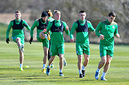 Josh Doig (#25) of Hibernian FC (centre) during the training session for Hibernian FC at the Hibernian Training Centre, Ormiston, Scotland on 9 April 2021, ahead of their SPFL Premiership match with Rangers.