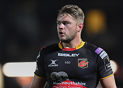 Dragons' Lewis Evans<br /> <br /> Photographer Mike Jones/Replay Images<br /> <br /> Guinness PRO14 Round Round 18 - Dragons v Cheetahs - Friday 23rd March 2018 - Rodney Parade - Newport<br /> <br /> World Copyright © Replay Images . All rights reserved. info@replayimages.co.uk - http://replayimages.co.uk