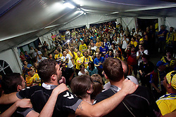 Players of Cimos Koper and fans celebrate  after the handball match between RK Cimos Koper (SLO) and SL Benfica (POR) in return final match of EHF Challenge Cup, on May 22, 2011 in Tent at Arena Bonifika, Koper, Slovenia. Koper defeated Benfica 31-27 and became Euro Challenge Champion 2011. (Photo By Vid Ponikvar / Sportida.com)