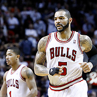 29 January 2012: Chicago Bulls power forward Carlos Boozer (5) is seen during the Miami Heat 97-93 victory over the Chicago Bulls at the AmericanAirlines Arena, Miami, Florida, USA.