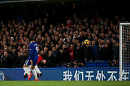 Alvaro Morata of Chelsea scores a 'goal'  but it is judged to be offside and disallowed.<br /> Premier league match, Chelsea v Manchester United at Stamford Bridge in London on Sunday 5th November 2017.<br /> pic by Kieran Clarke, Andrew Orchard sports photography.