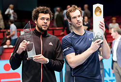 30.10.2016, Stadthalle, Wien, AUT, ATP Tour, Erste Bank Open, Siegerehrung, im Bild v.l. Jo Wilfried Tsonga (FRA), Andy Murray (GBR) // Jo Wilfried Tsonga of France and Andy Murray of Great Britain during Winner Award Ceremony of Erste Bank Open of ATP Tour at the Stadthalle in Vienna, Austria on 2016/10/30. EXPA Pictures © 2016, PhotoCredit: EXPA/ Sebastian Pucher