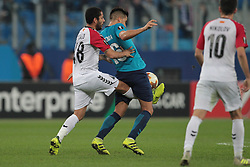 November 23, 2017 - Russia - forward Dos Santos Ytalo of FC Vardar and midfielder Christian Noboa of FC Zenit during UEFA Europa League Football match Zenit - Vardar. Saint Petersburg, November 23,2017 (Credit Image: © Anatoliy Medved/Pacific Press via ZUMA Wire)