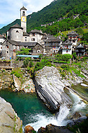 Rustic mountain village of Lavertezza with stone houses and church -Val Verzasca, Ticino, Alps, .<br /> <br /> Visit our SWITZERLAND  & ALPS PHOTO COLLECTIONS for more  photos  to browse of  download or buy as prints https://funkystock.photoshelter.com/gallery-collection/Pictures-Images-of-Switzerland-Photos-of-Swiss-Alps-Landmark-Sites/C0000DPgRJMSrQ3U