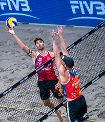 Pablo Herrera ESP, Ruben Penninga in action during the first day of the beach volleyball event King of the Court at Jaarbeursplein on September 9, 2020 in Utrecht.