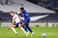 Che lsea midfielder Callum Hudson-Odoi (20) tussles with Tottenham Hotspur defender Sergio Reguilon (3) during the EFL Cup Fourth Round match between Tottenham Hotspur and Chelsea at Tottenham Hotspur Stadium, London, United Kingdom on 29 September 2020.